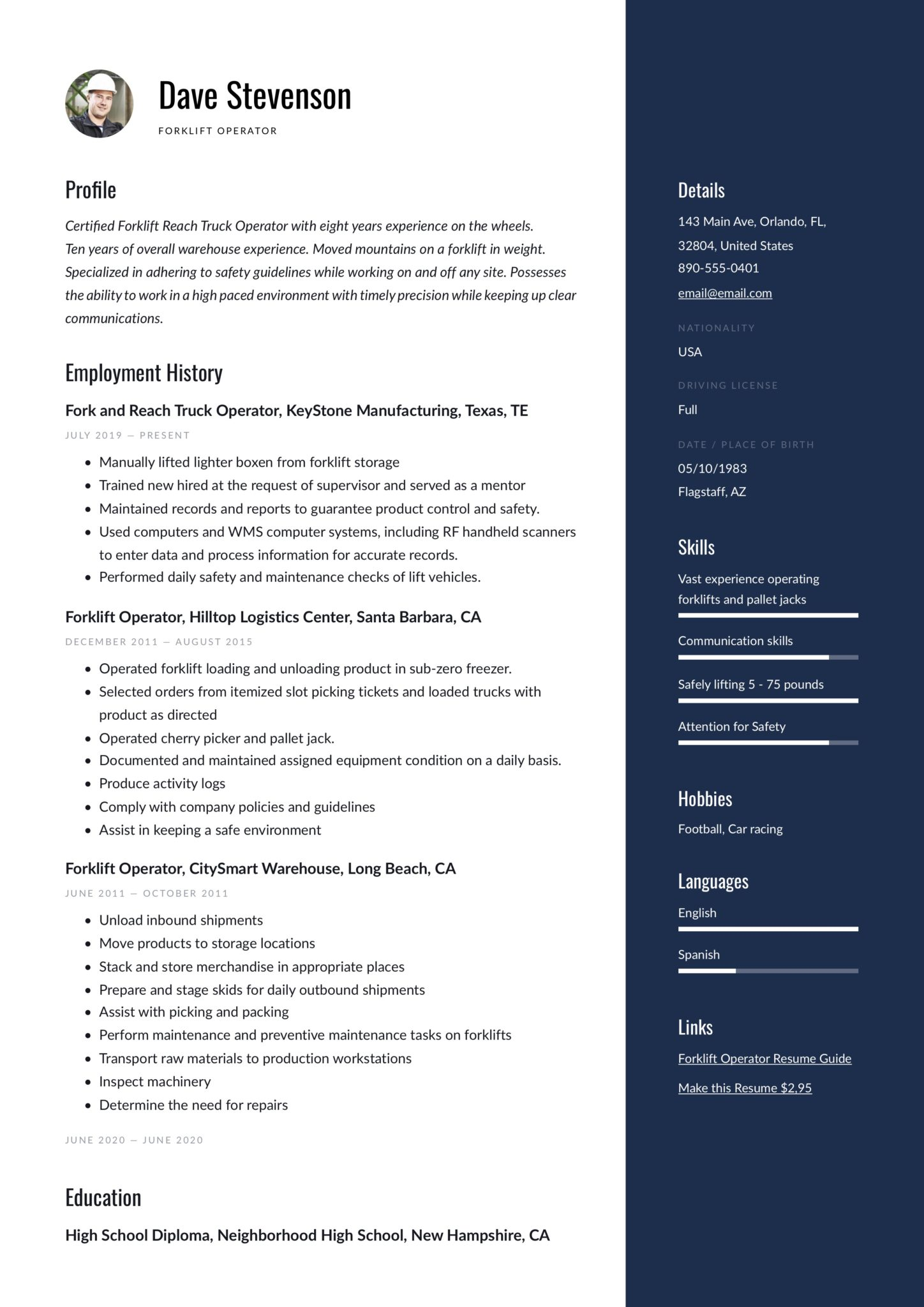 Resume Forklift Operator Amp Writing Guide 17 Examples