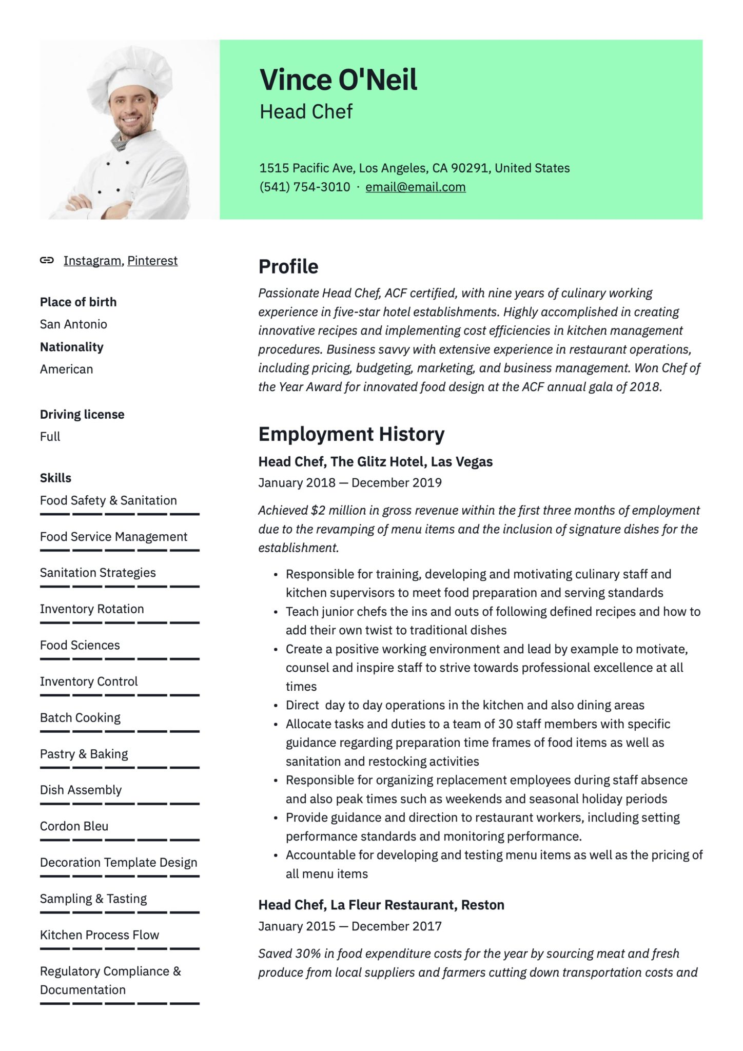 head chef resume  u0026 writing guide