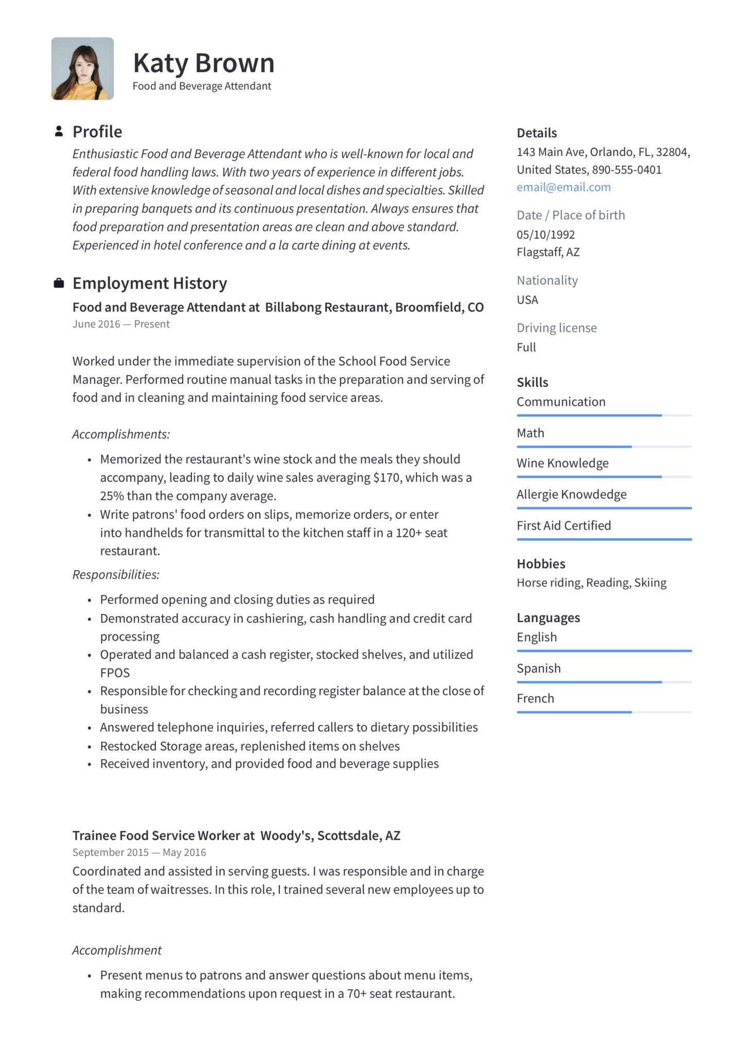 blue modern food and beverage attendant resume template