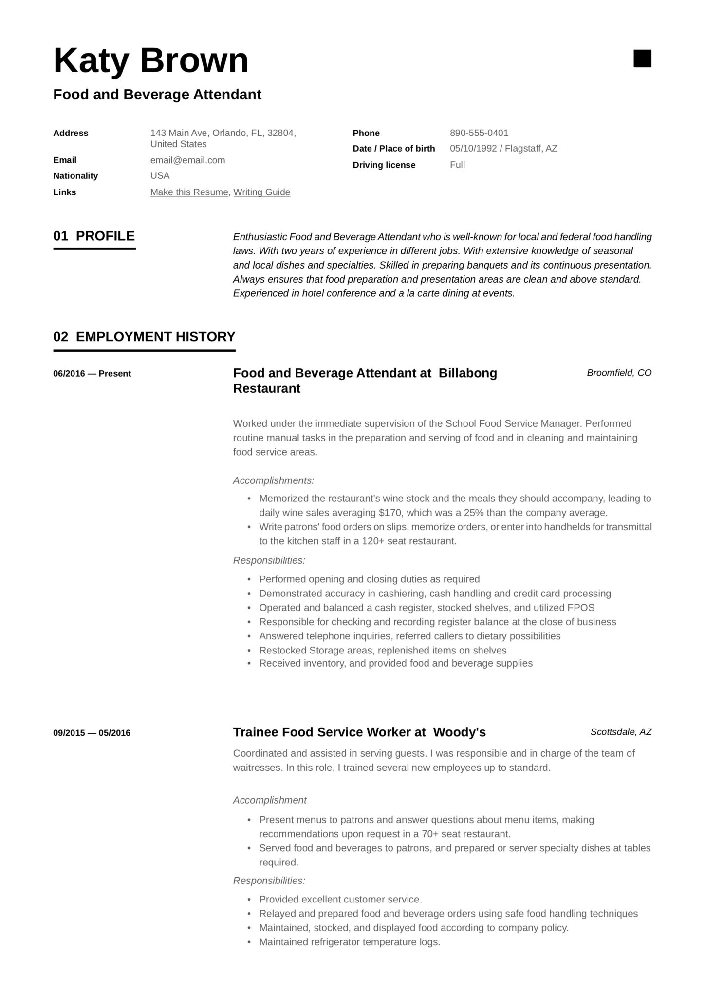 modern black and white resume example food and beverage attendant