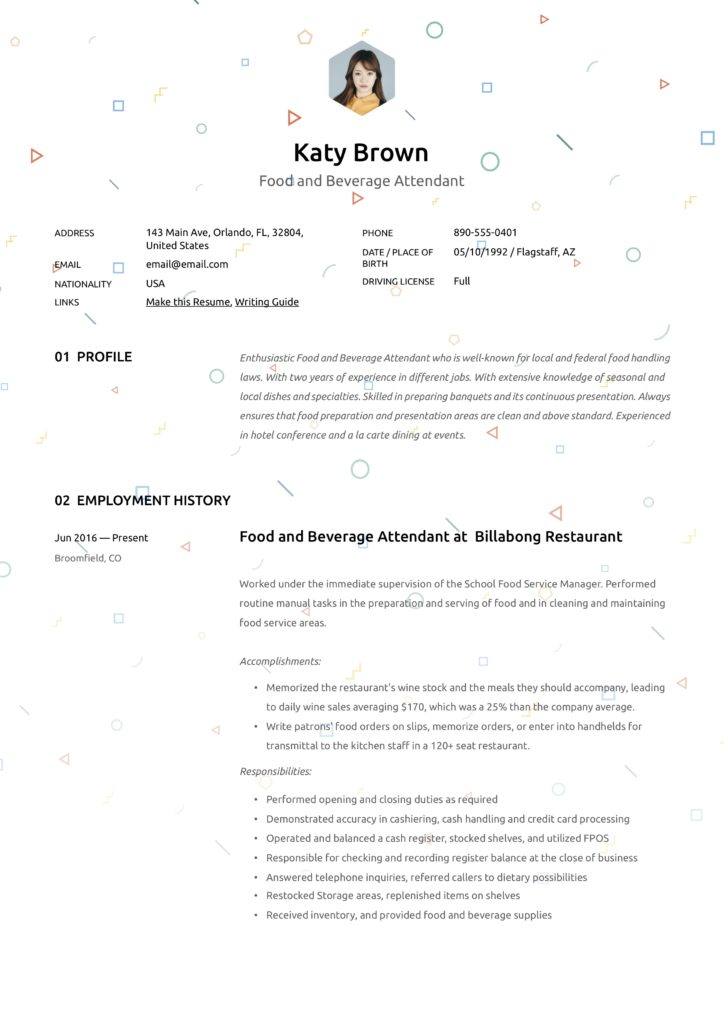 creative resume example hospitality food and beverage attendant