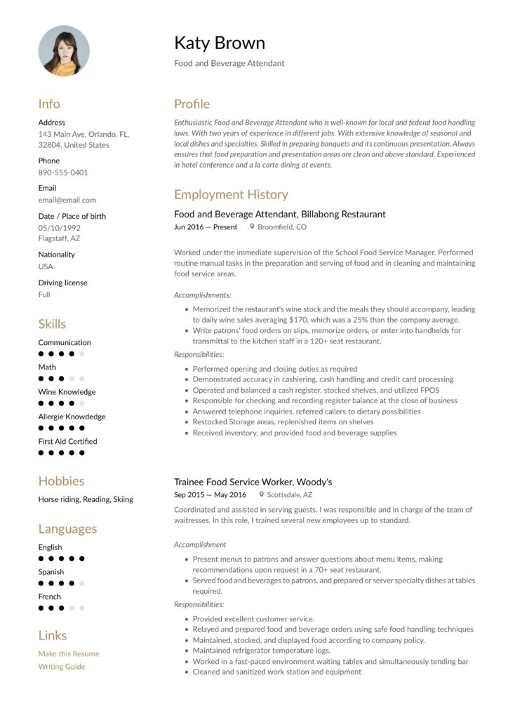 modern gold colored food and beverage attendant resume