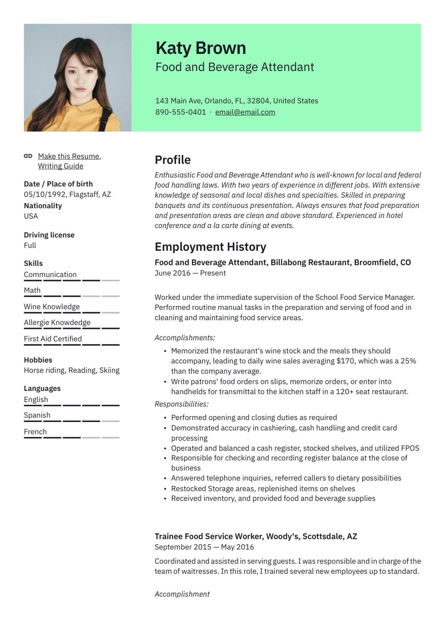 modern food and beverage attendant resume