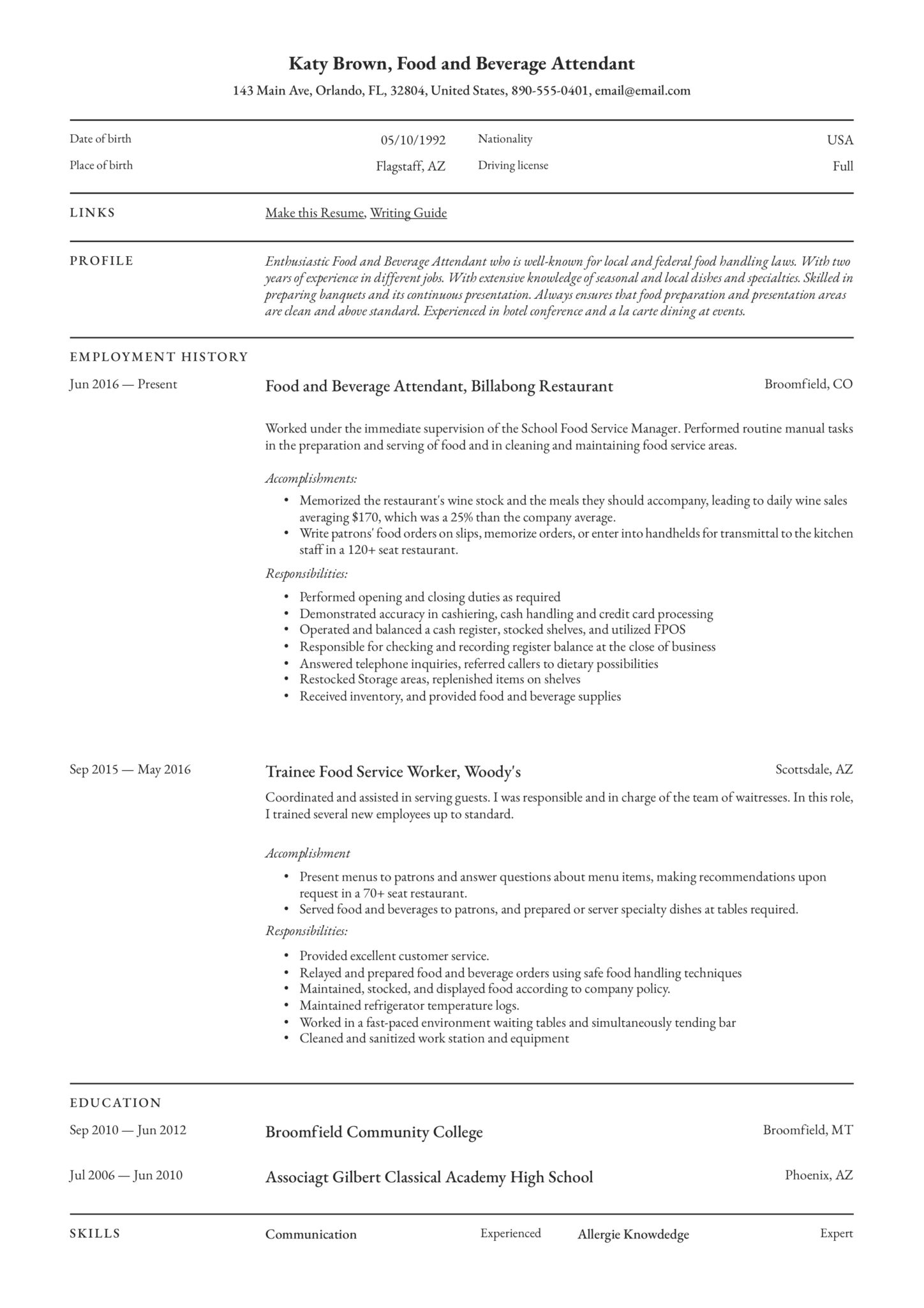 professional food and beverage attendant resume