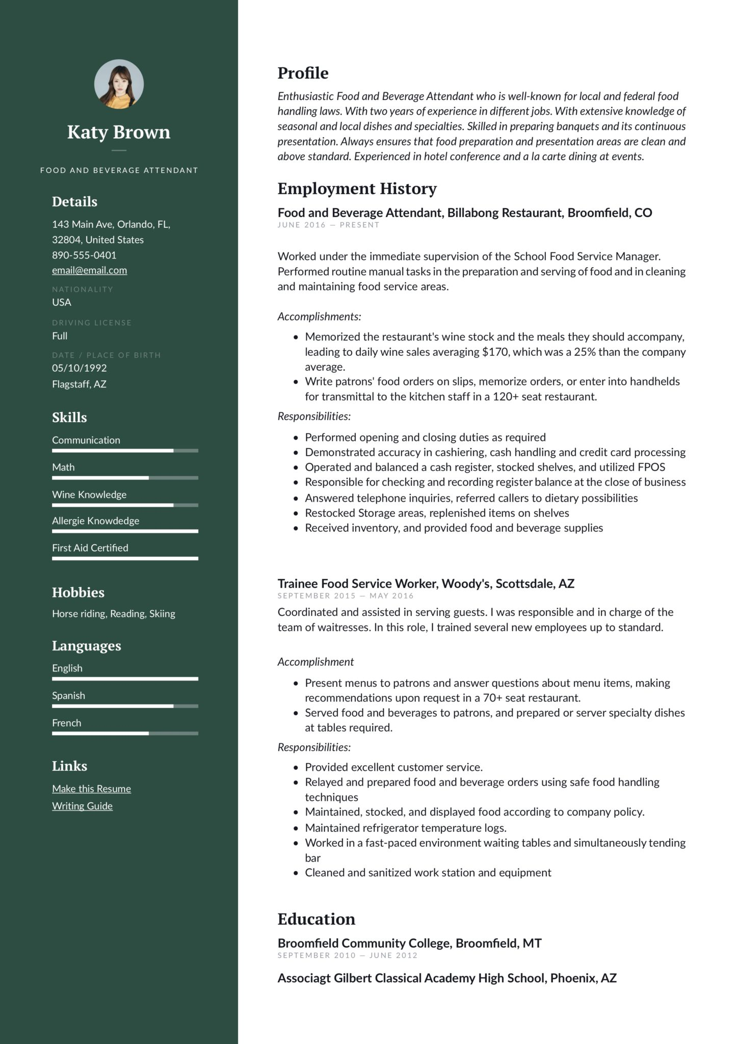 Green example resume food and beverage attendant