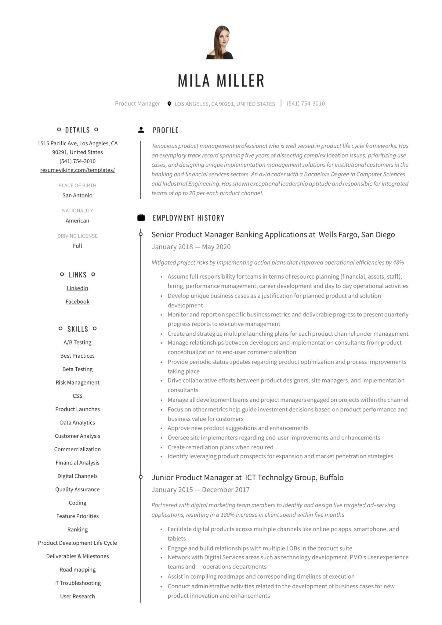 creative timeline resume modern product manager