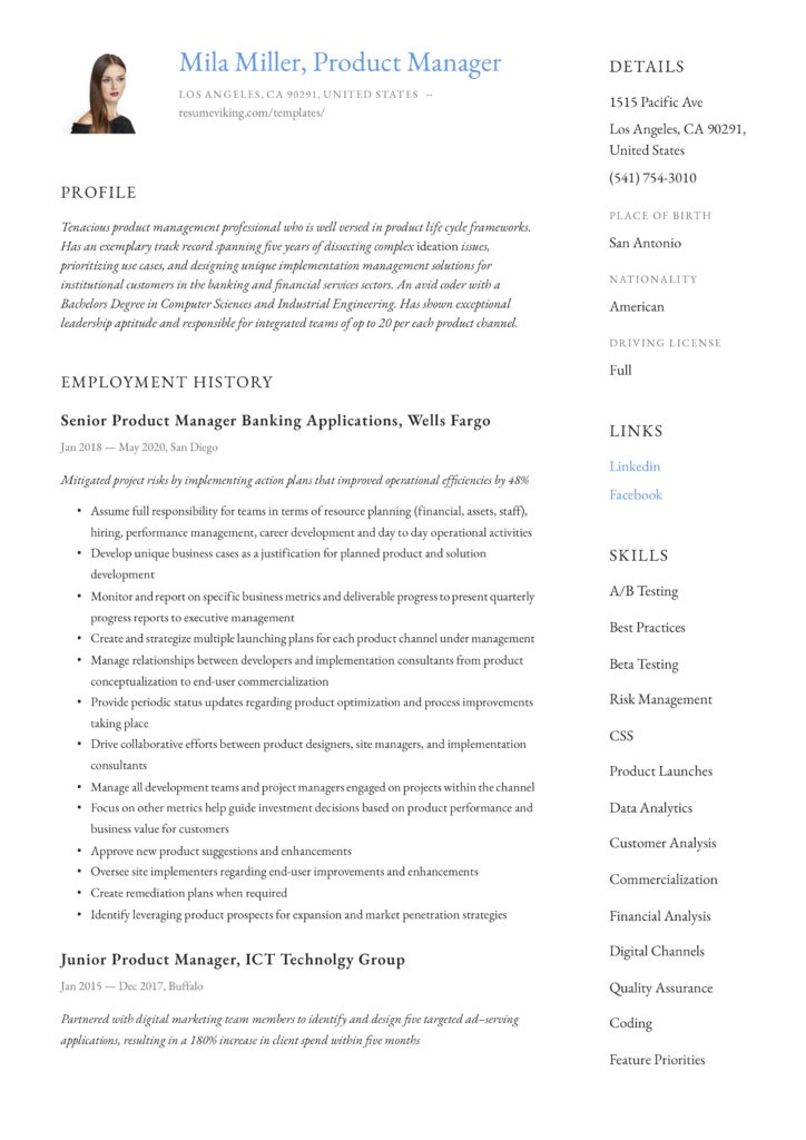 creative classic product manager resume