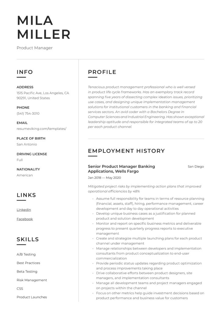 modern resume tool product manager example