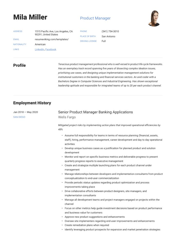 simple resume product manager it