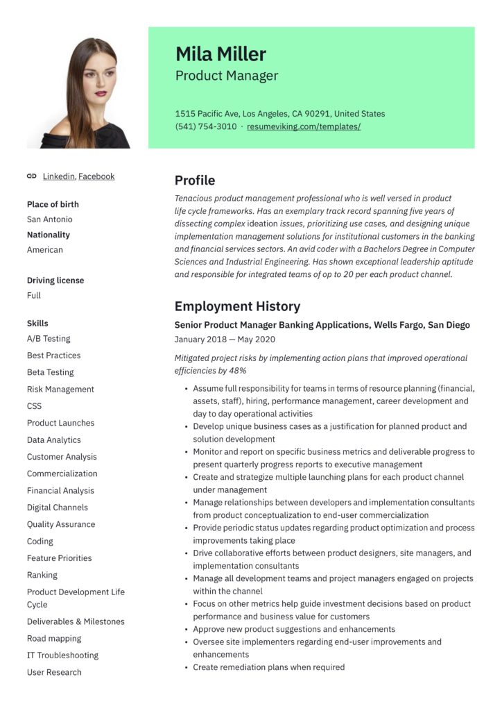modern senior product manager resume IT