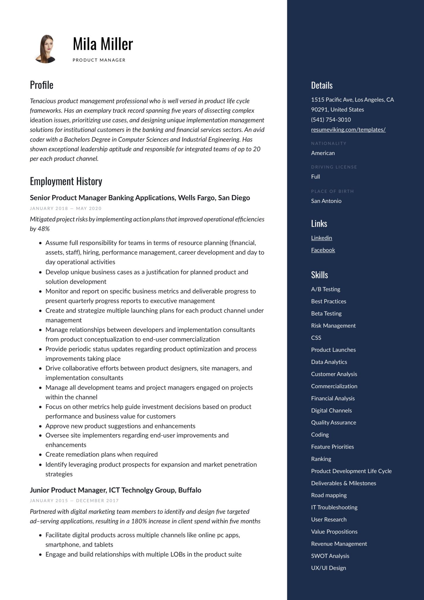 blue simple design resume example product manager