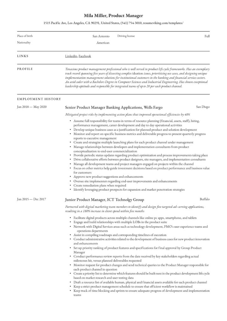 professional resume example senior product manager