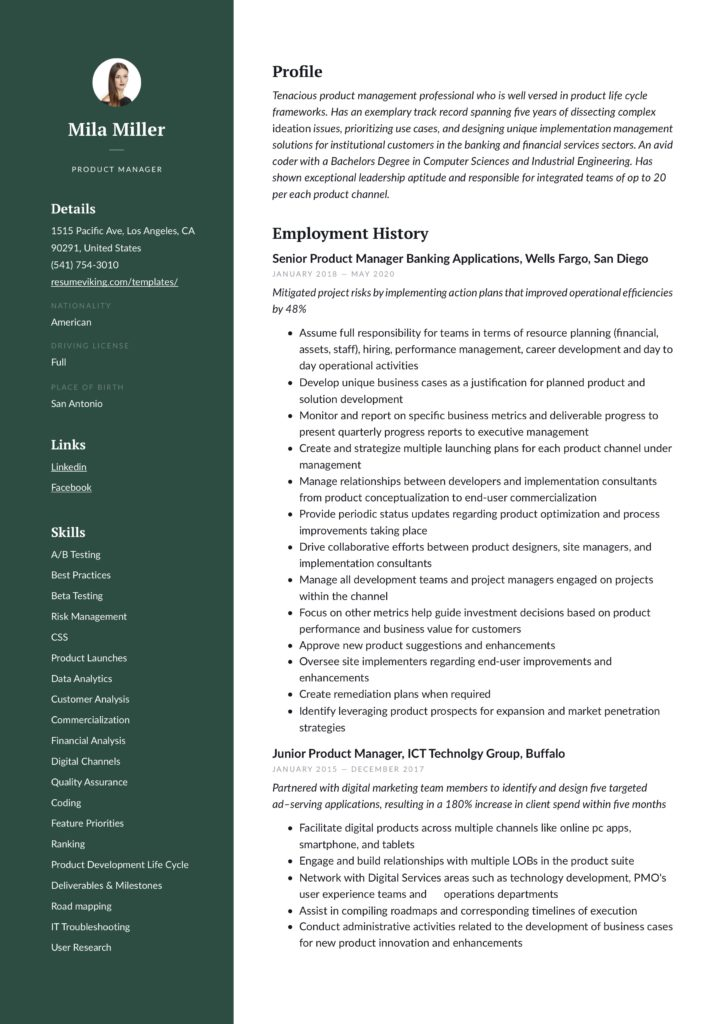 modern green junion and senior product manager resume sample IT