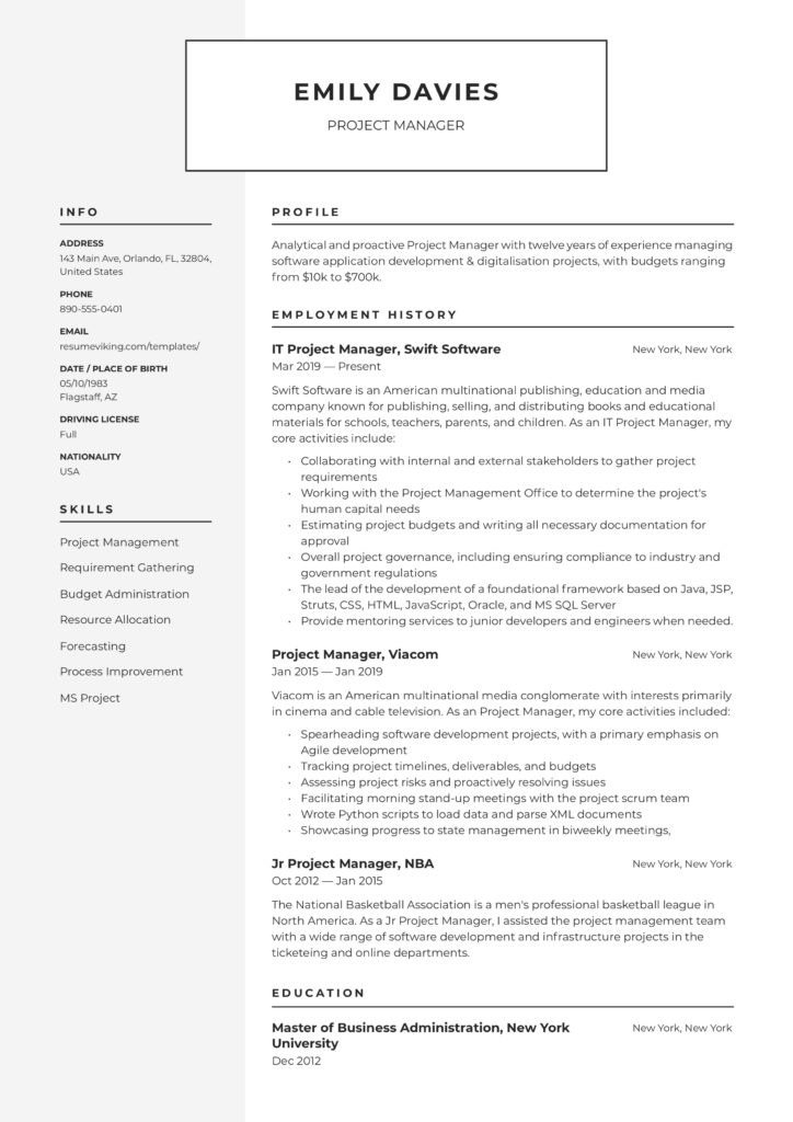 20 Project Manager Resume Examples & Full Guide   PDF ...