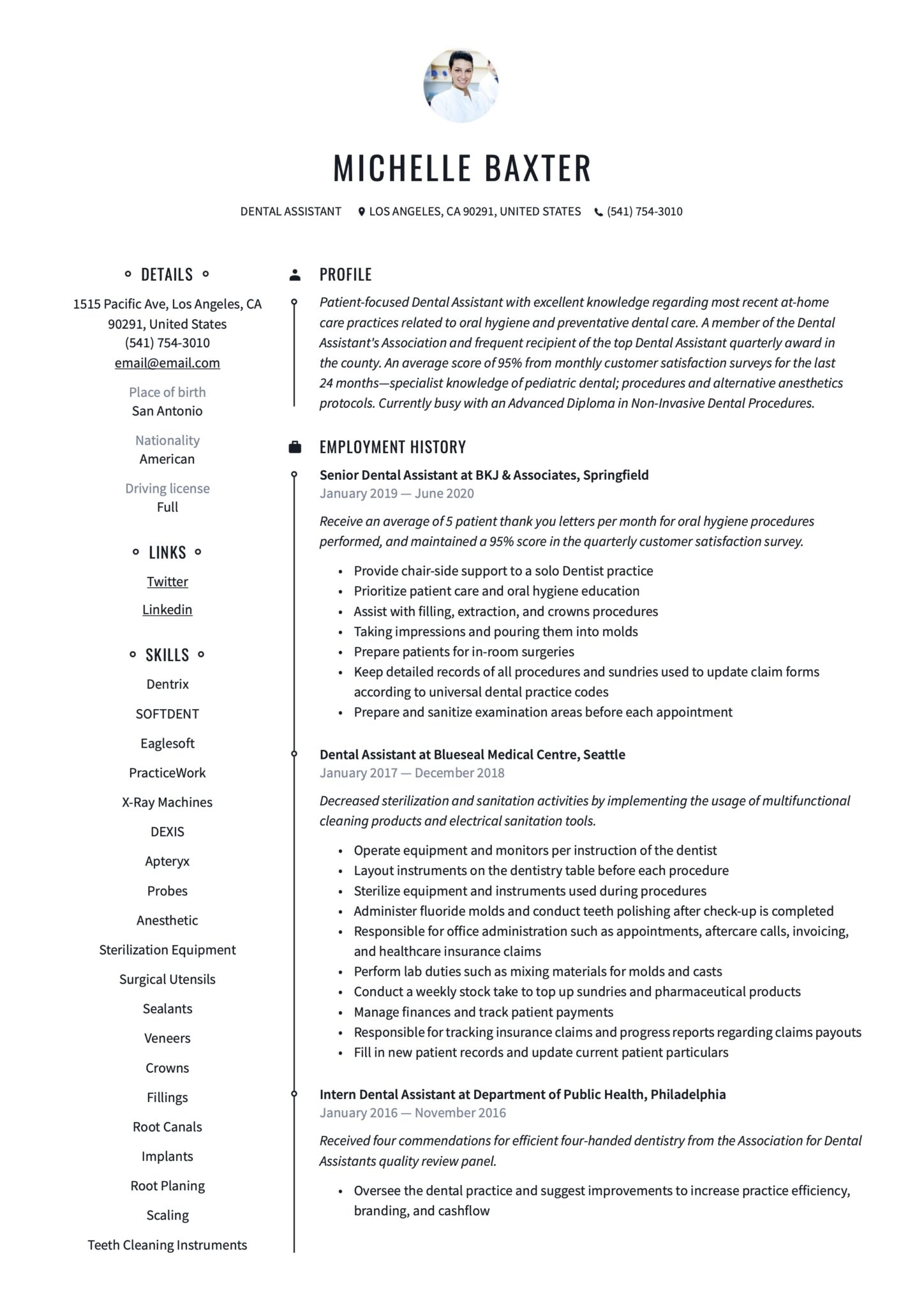 Professional Resume Example Dental Assistant