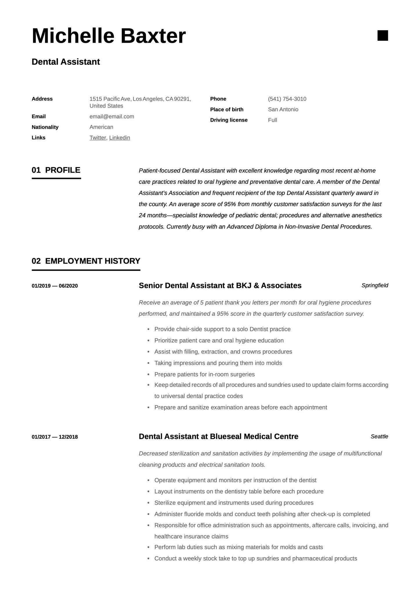 Simple Resume Template Dental Assistant