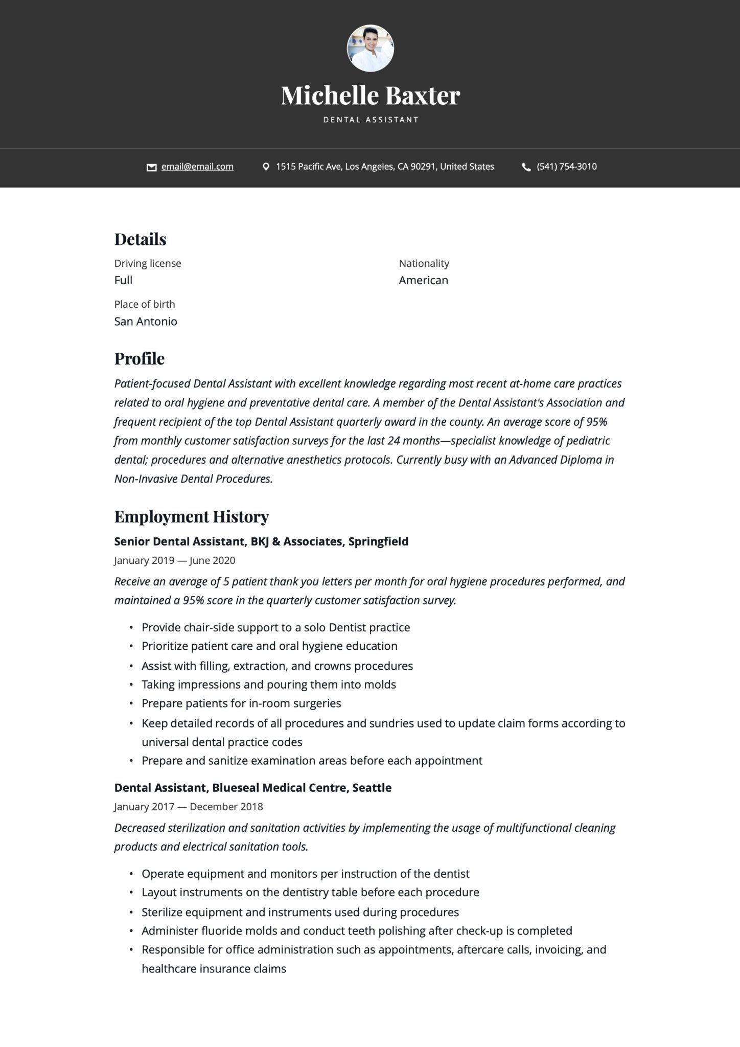 Simple Black Resume Example Dental Assistant