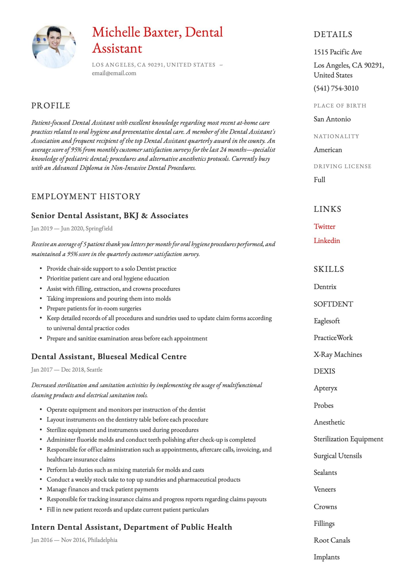 Simple Red Resume Template Dental Assistant
