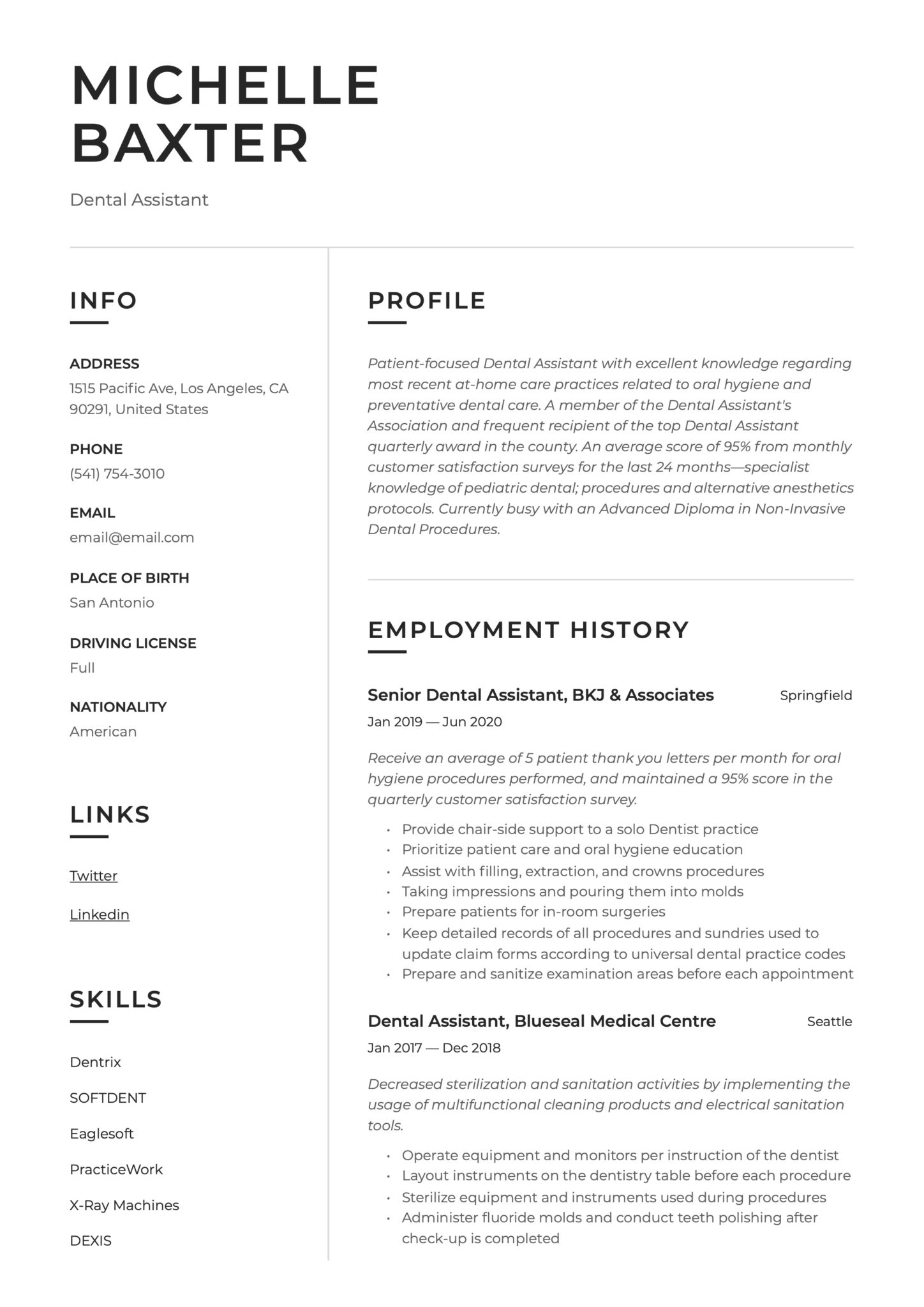 Modern Simple Resume Example Dental Assistant