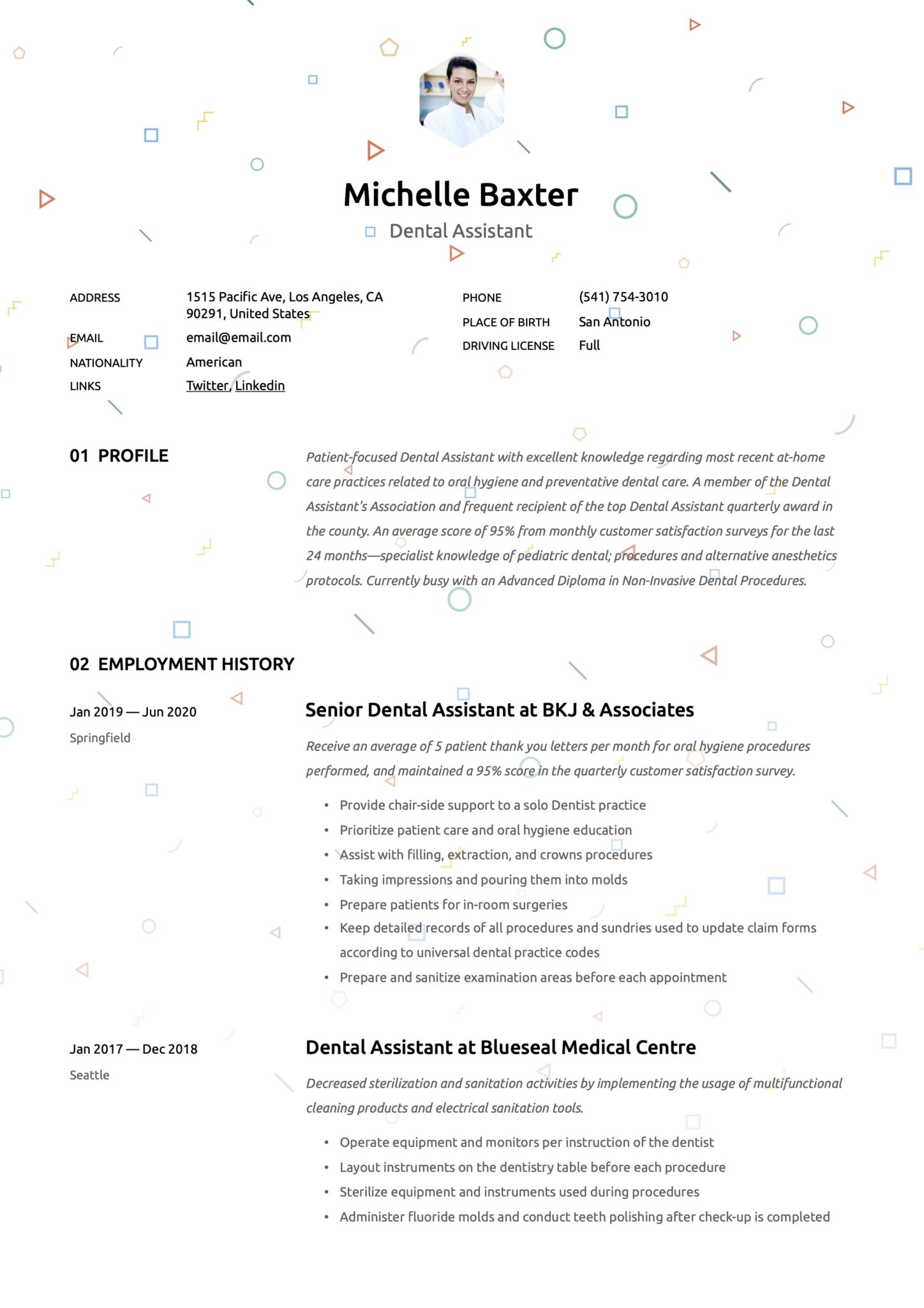Creative Resume Template Dental Assistant