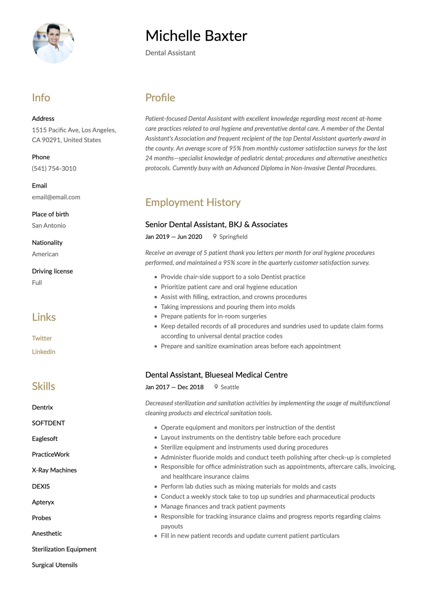 Simple Brown Resume Template Dental Assistant