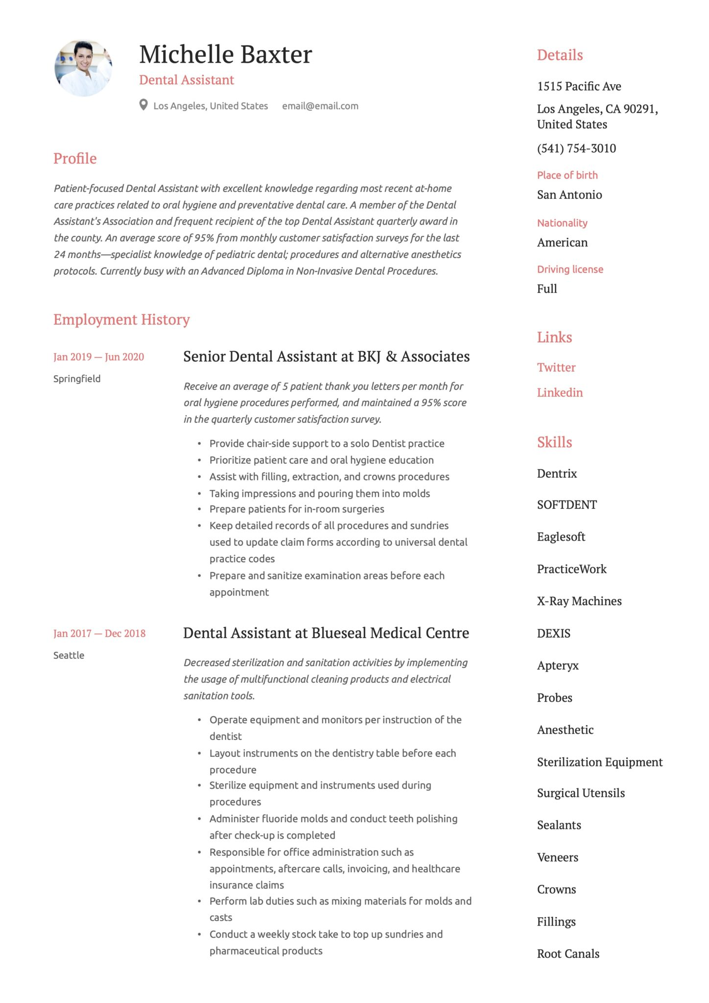 Simple Red Resume Example Dental Assistant