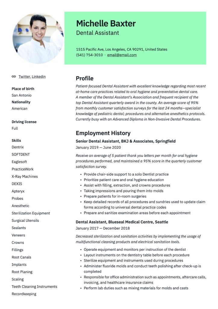 Professional Green Resume Template Dental Assistant