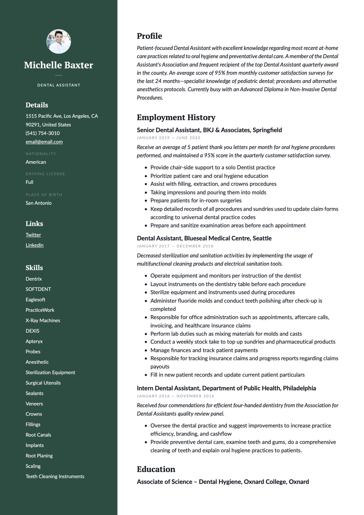Professional Green Resume Example Dental Assistant