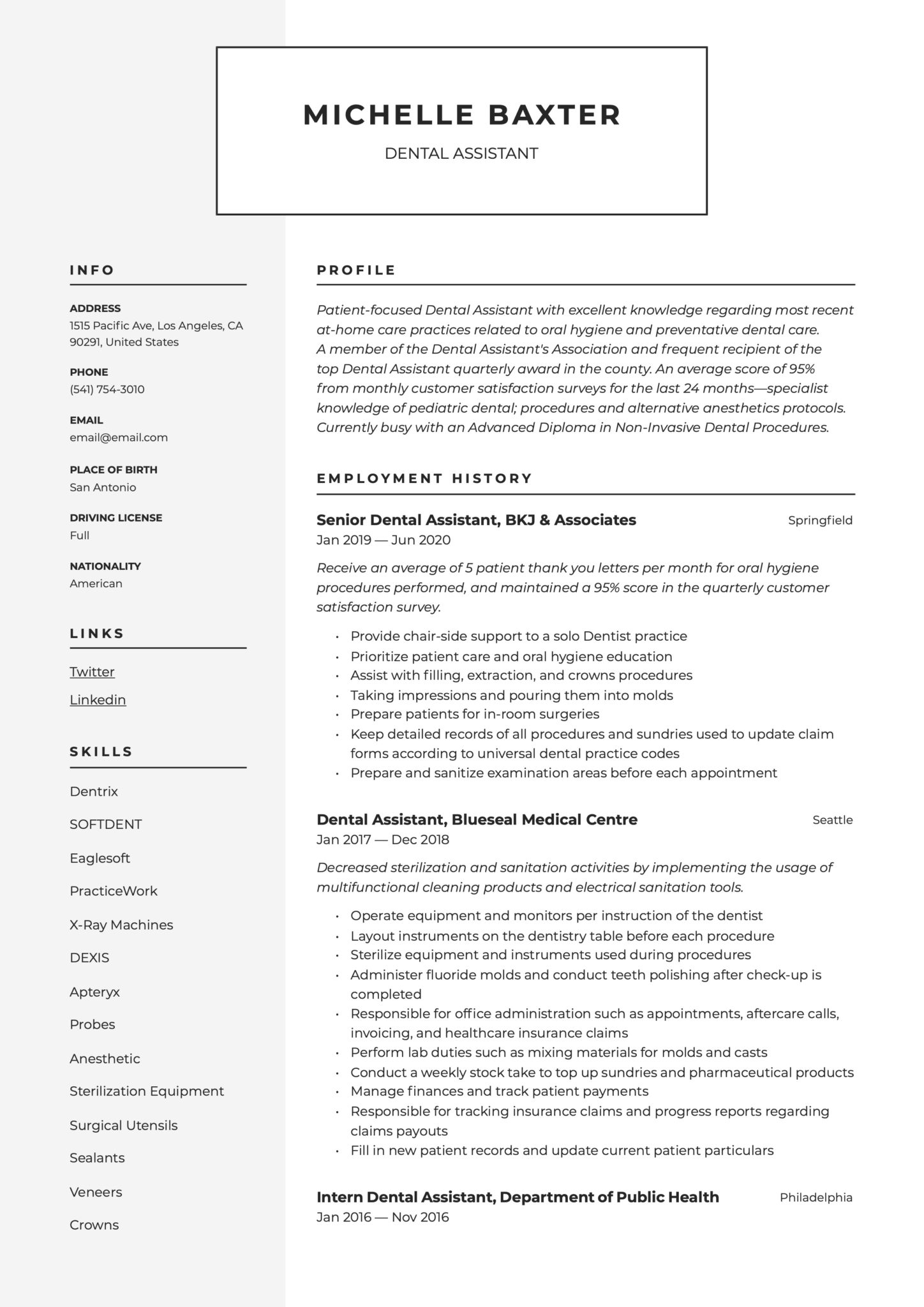 Modern Resume Example Dental Assistant