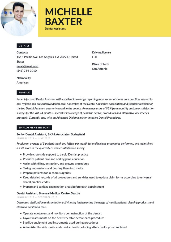Creative Yellow Resume Template Dental Assistant