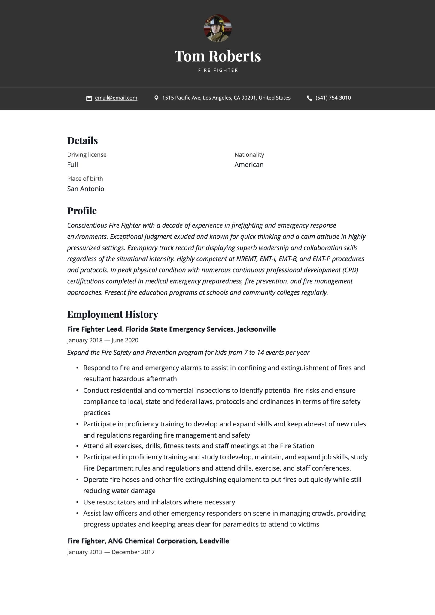 firefighter resume  writing guide  17 templates  2020