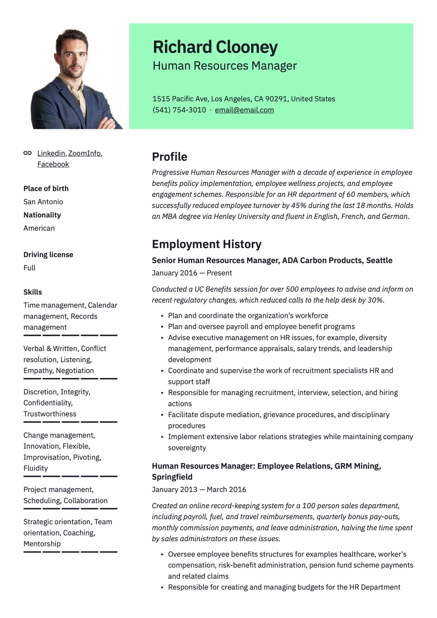 17 human resources manager resumes  guide  2020