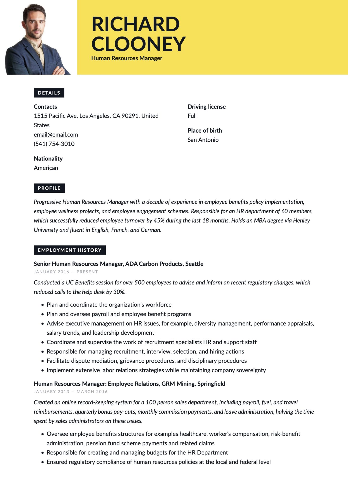 17 human resources manager resumes  u0026 guide