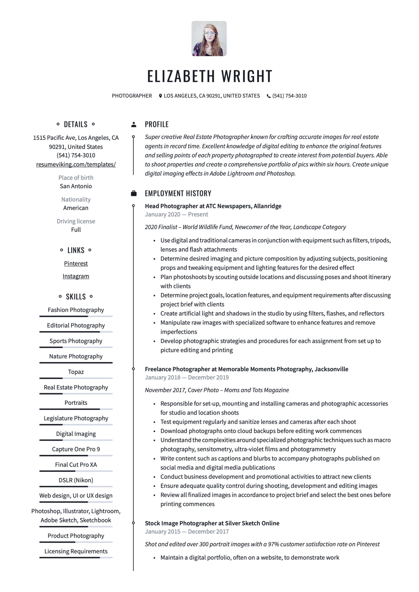 Professional Resume Example Photographer