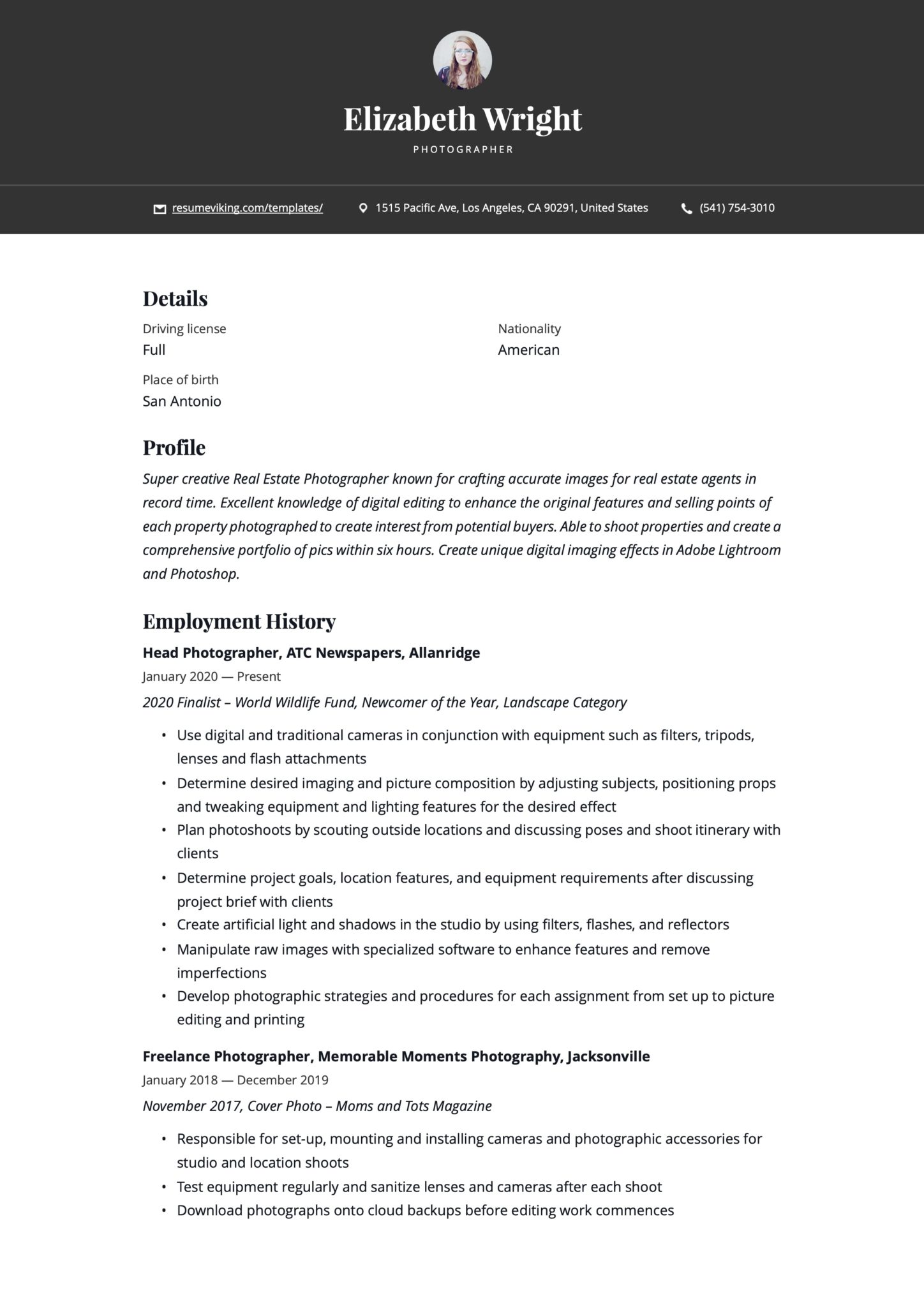 Simple Black Resume Example Photographer