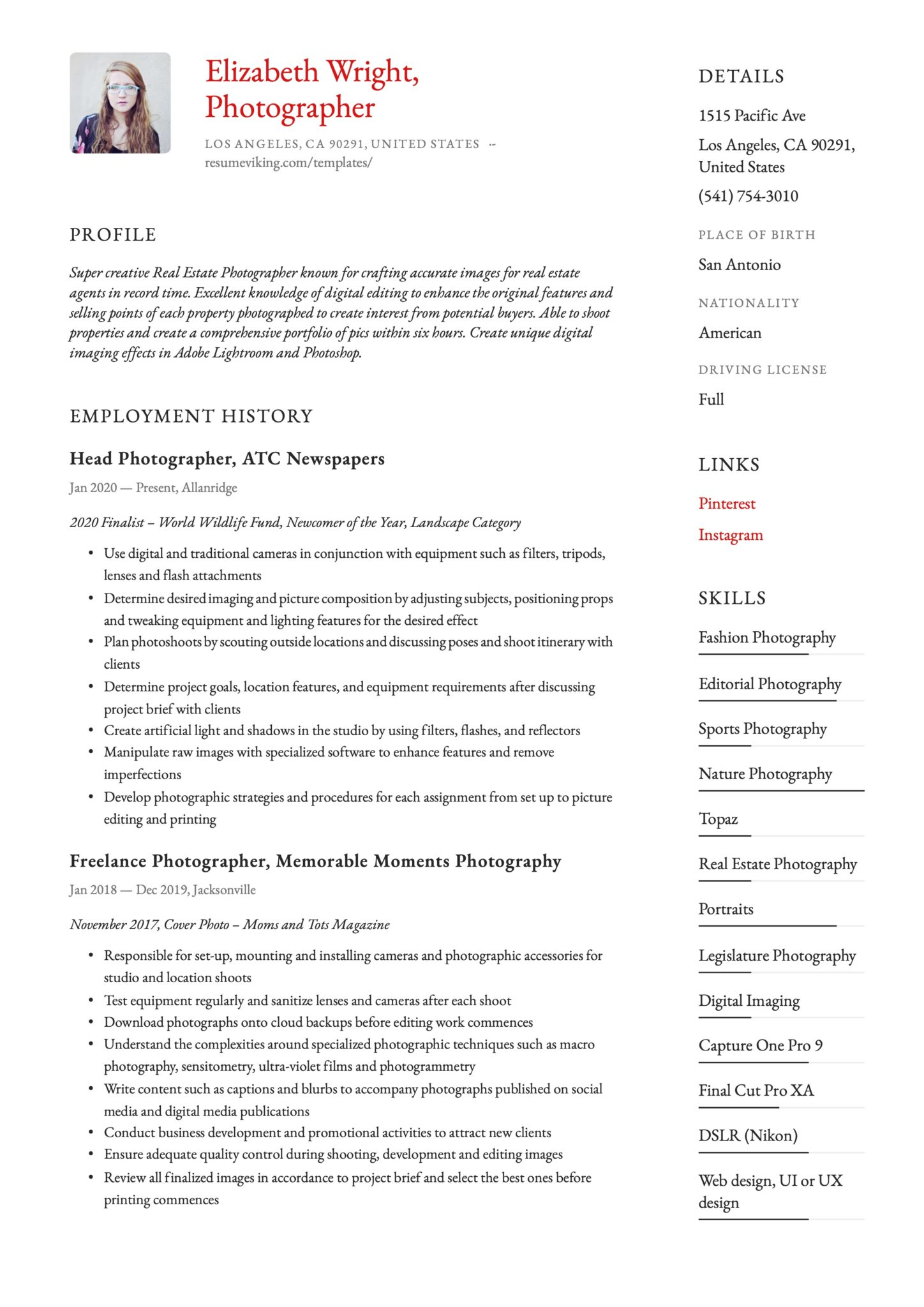 Simple Red Resume Template Photographer
