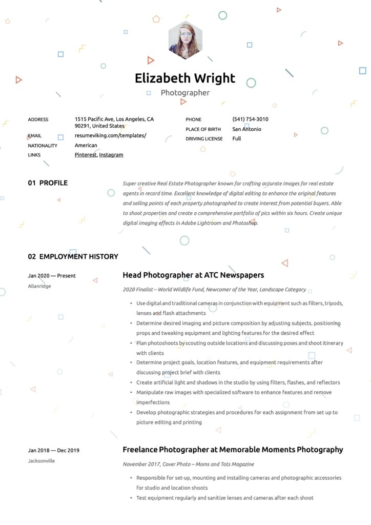 Creative Resume Template Photographer