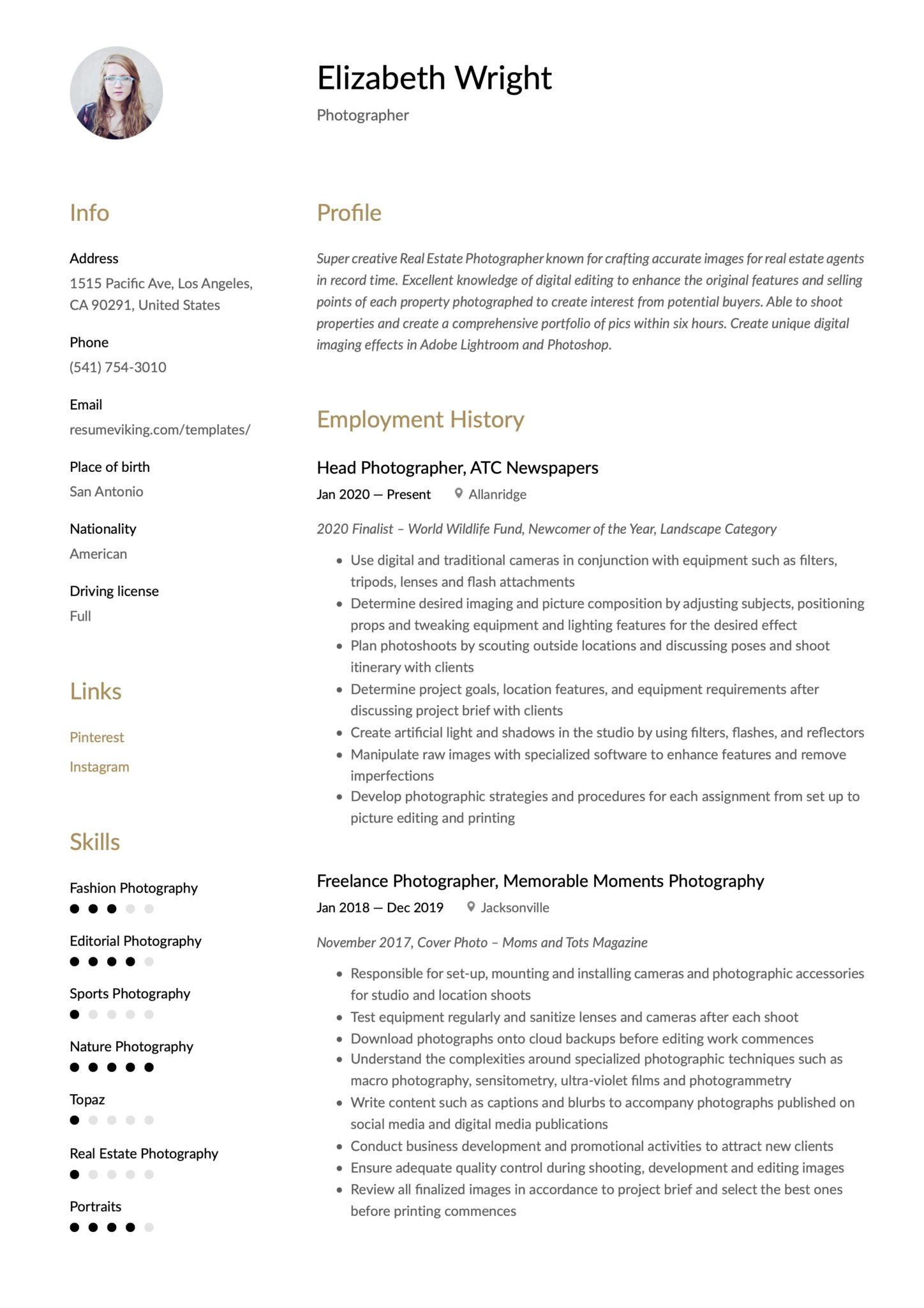 Simple Brown Resume Template Photographer