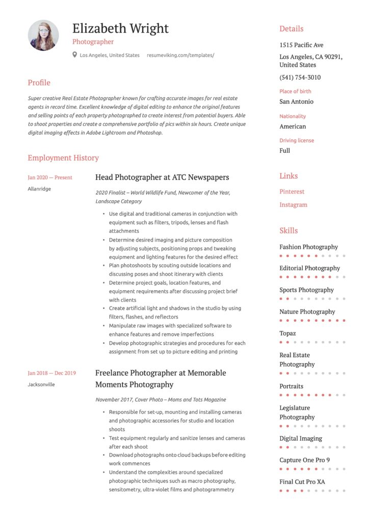 Simple Red Resume Example Photographer