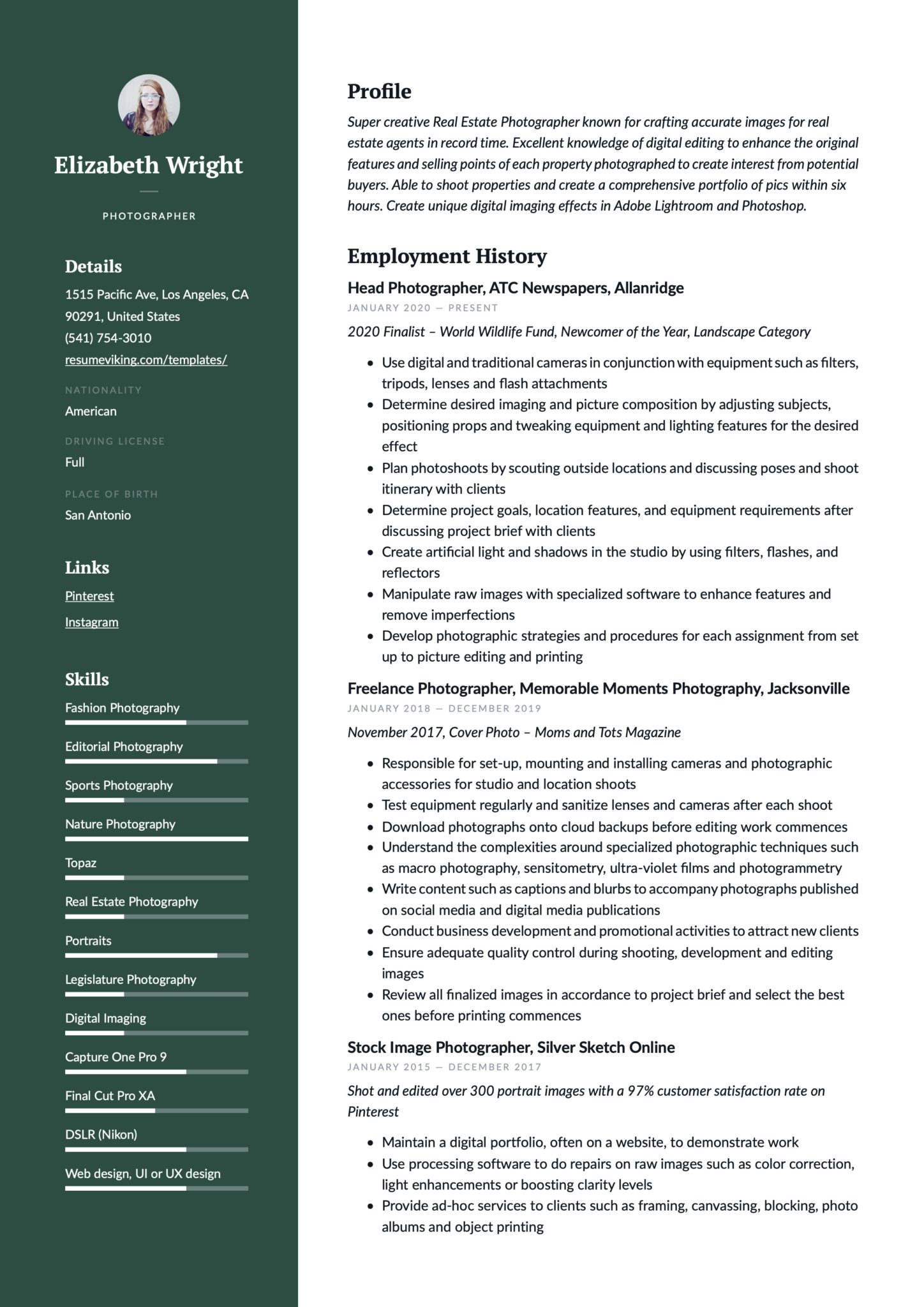 Professional Green Resume Example Photographer