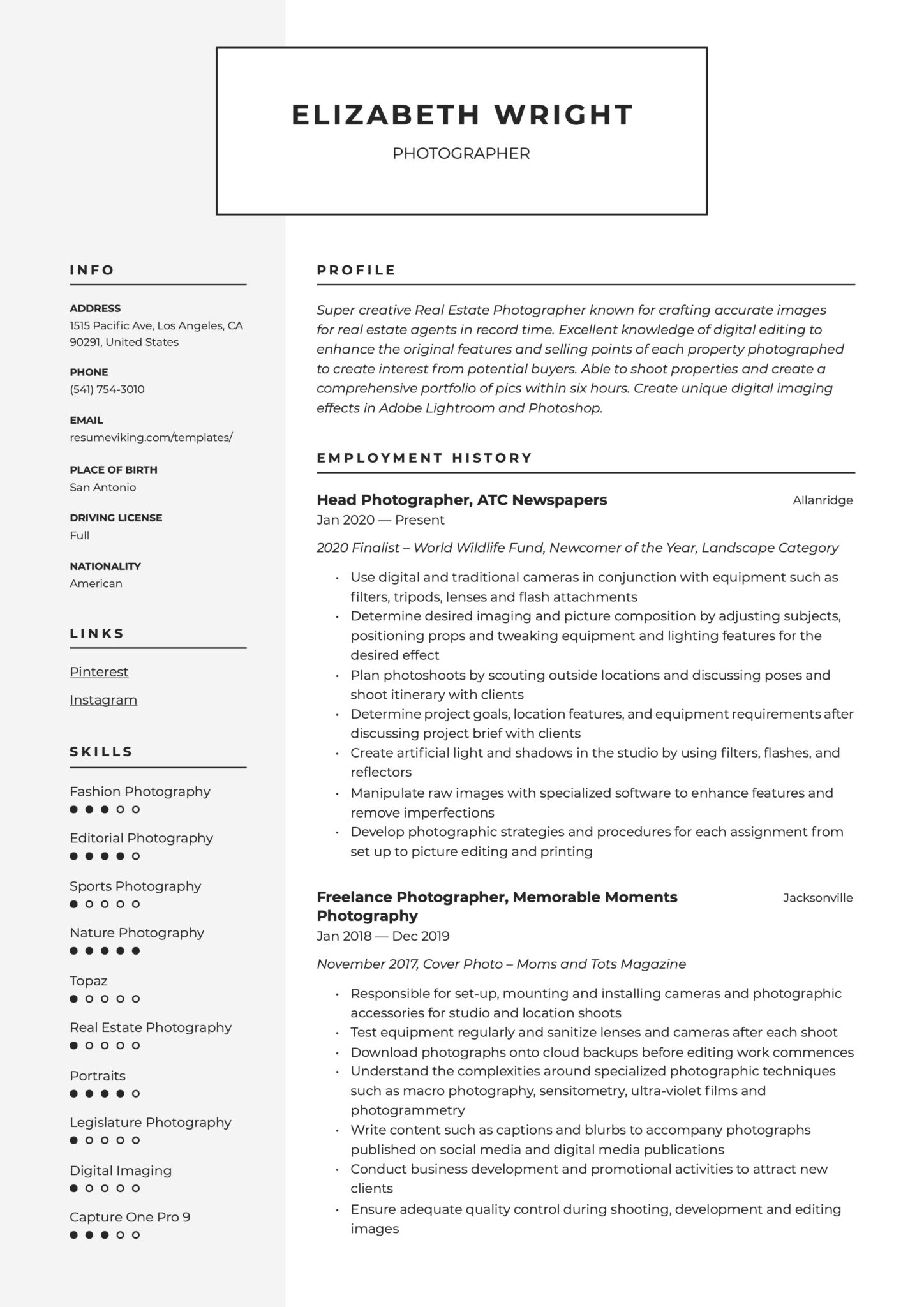 Modern Resume Example Photographer