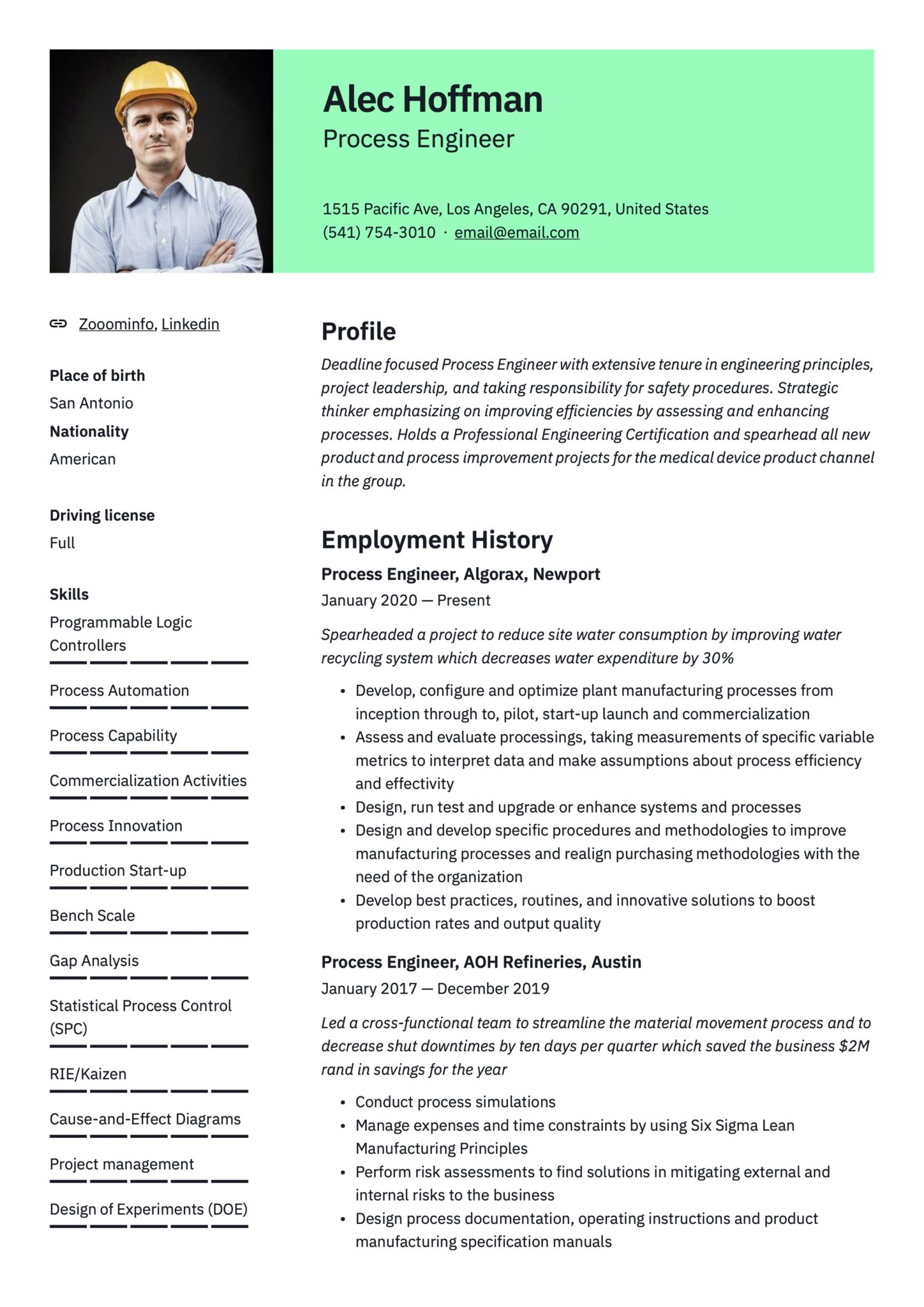 17 process engineer resume examples  guide  2021