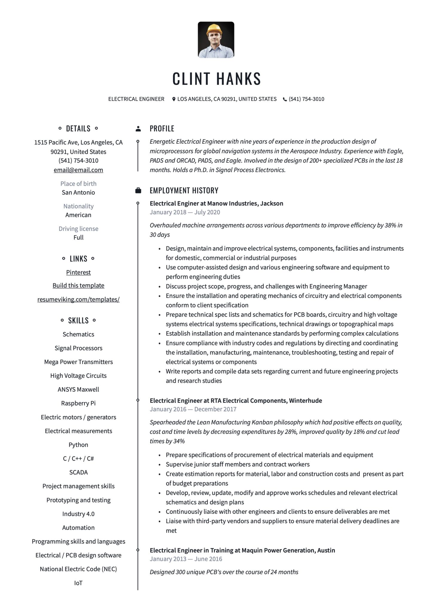 Professional Resume Example Electrical Engineer