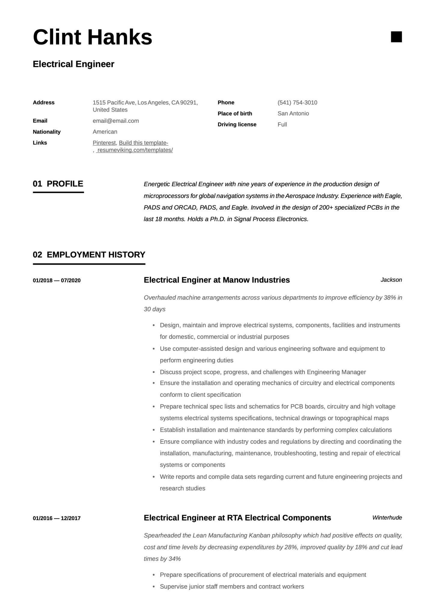 Simple Resume Template Electrical Engineer