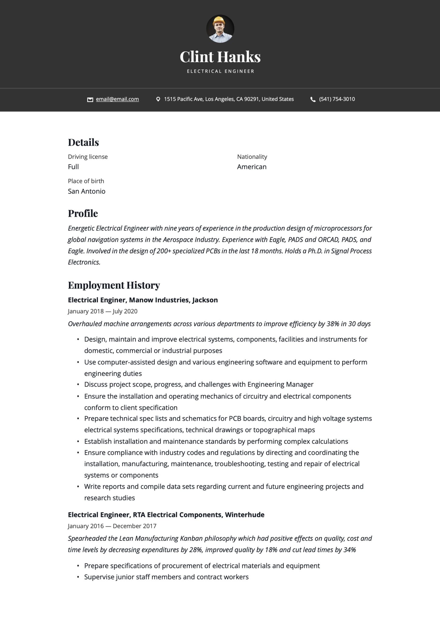 Simple Black Resume Example Electrical Engineer