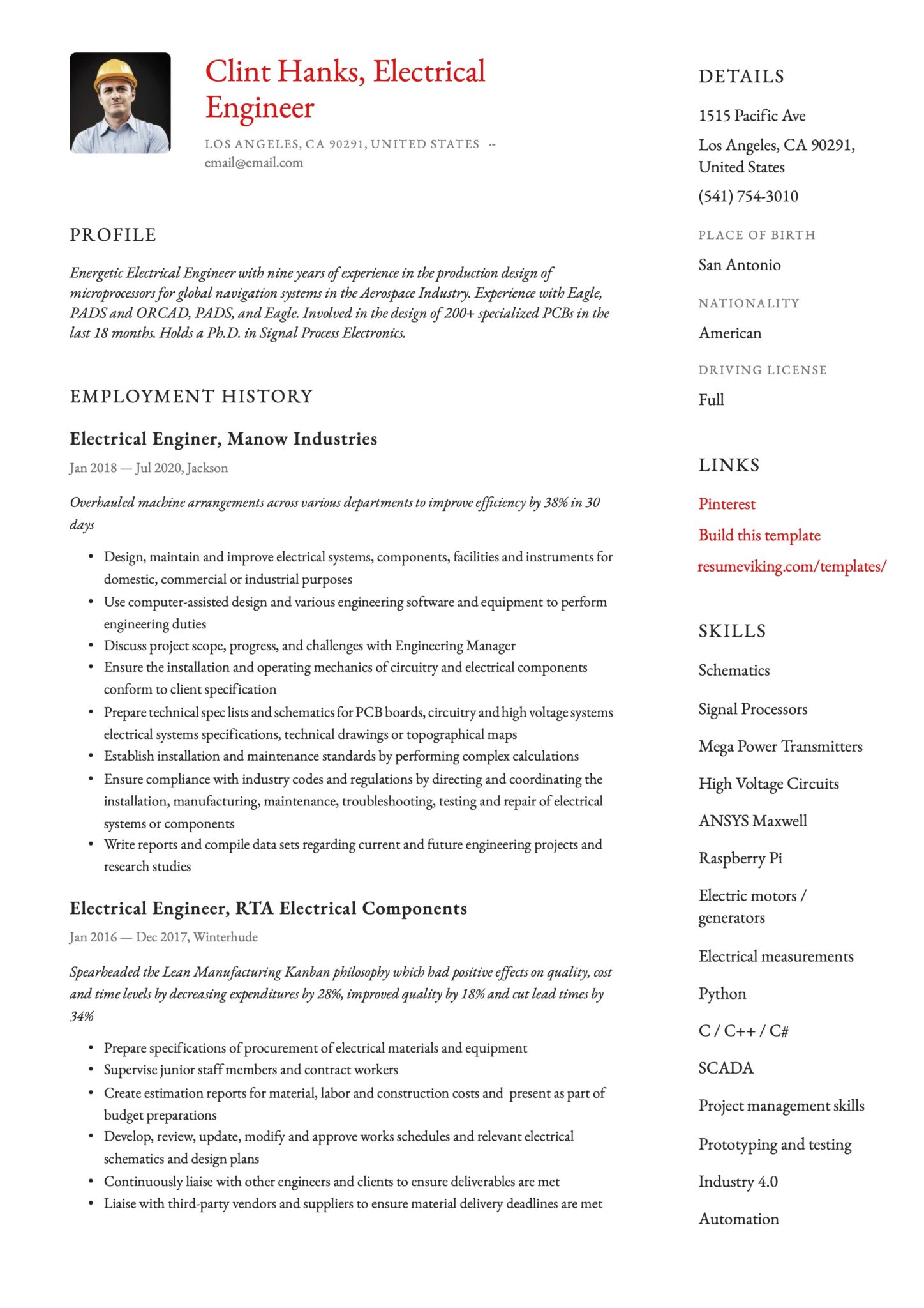 Simple Red Resume Template Electrical Engineer