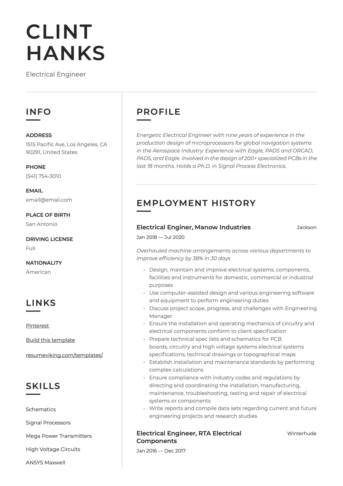 Modern Simple Resume Example Electrical Engineer