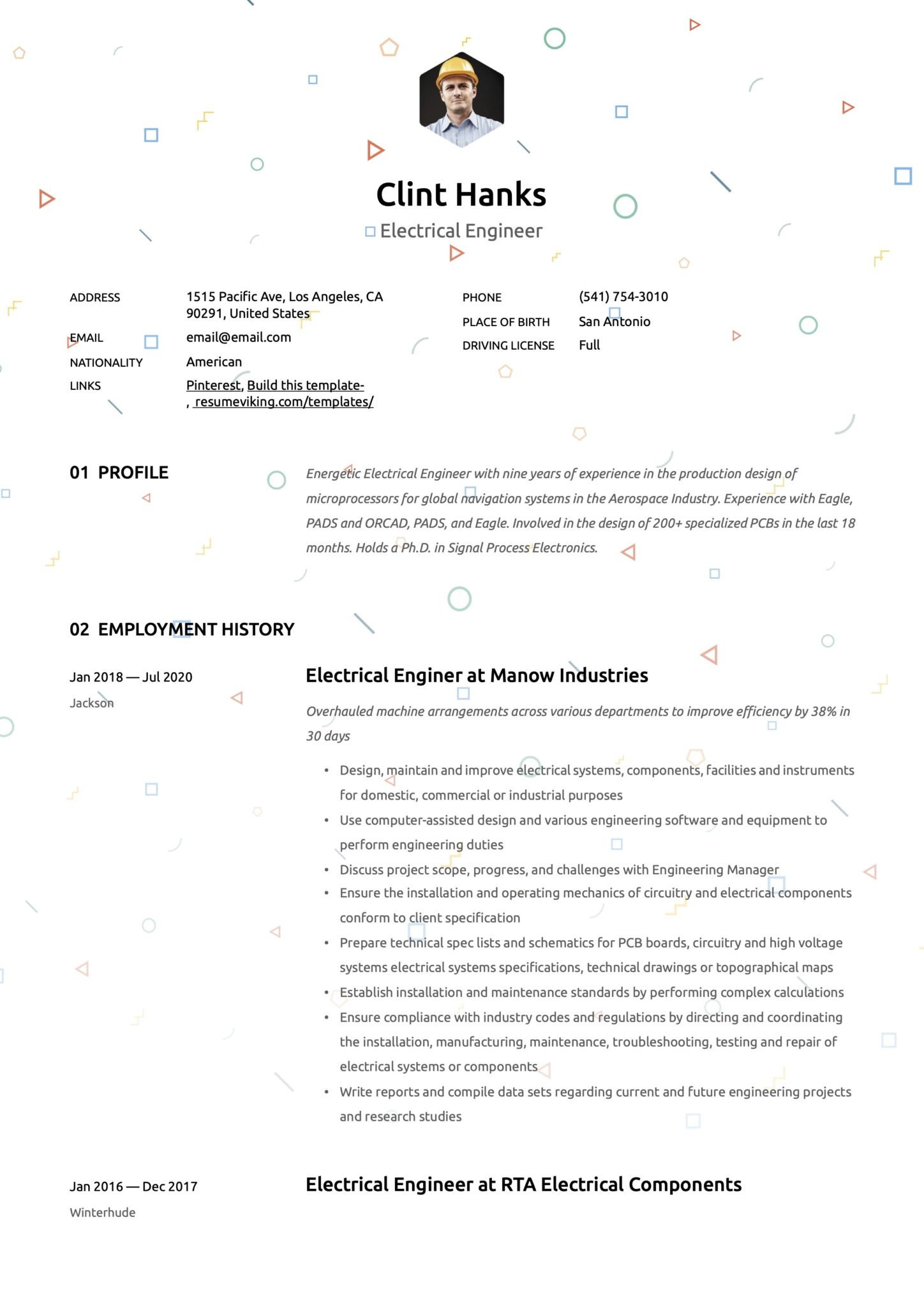 Creative Resume Template Electrical Engineer