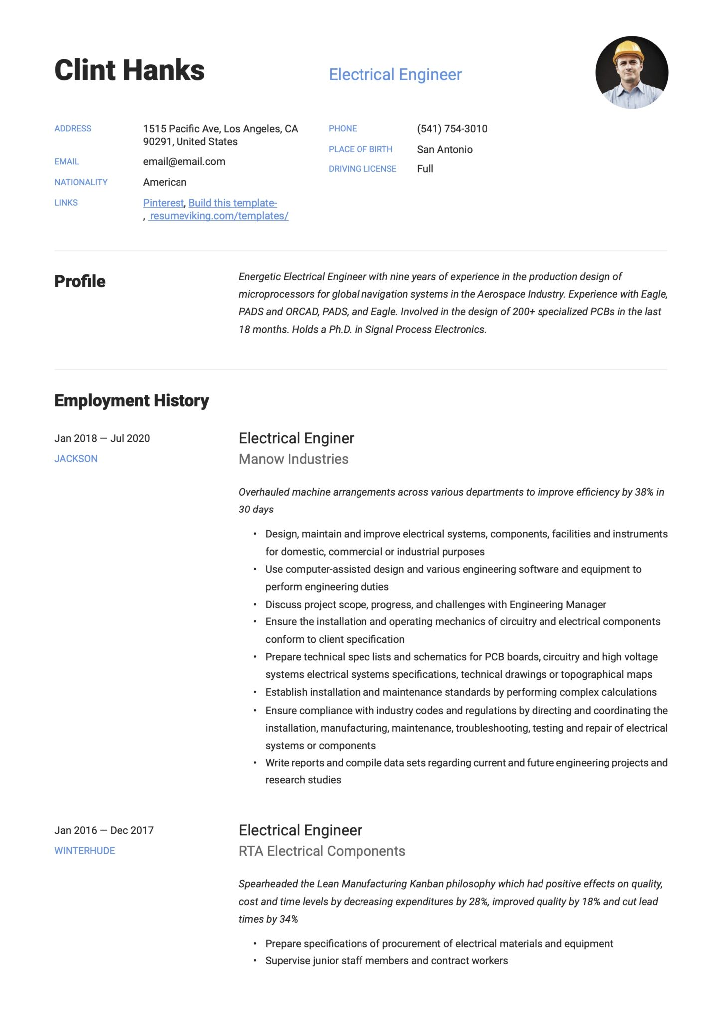 Simple Blue Resume Example Electrical Engineer