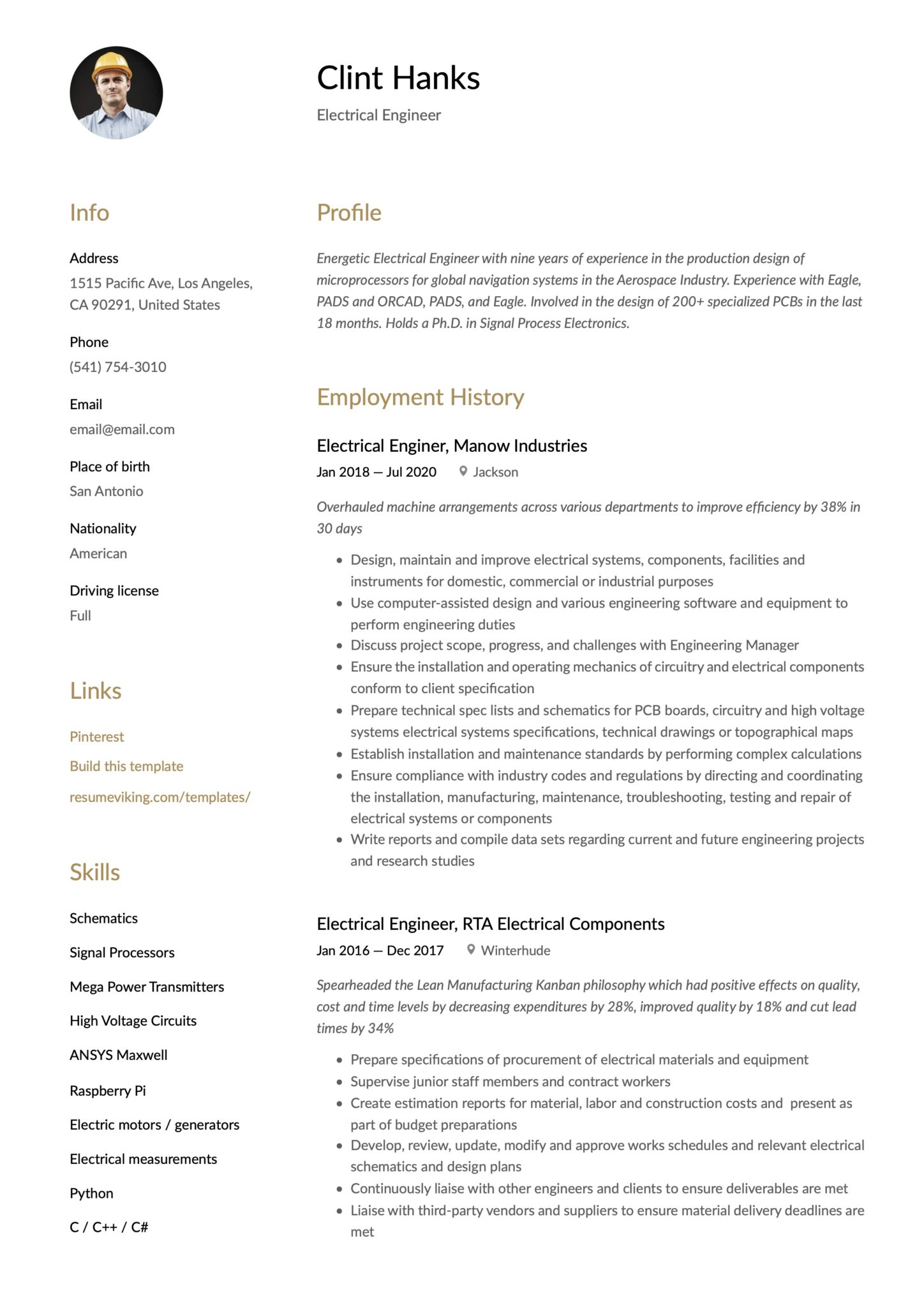 Simple Brown Resume Template Electrical Engineer